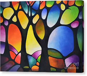 Sunset Trees Canvas Print by Sally Trace