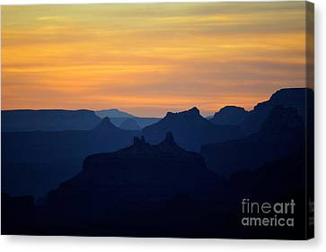 Beauty In Nature Canvas Print - Sunset Twilight Over Silhouetted Spires In Grand Canyon National Park by Shawn O'Brien