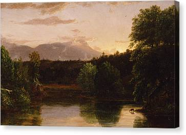 Sunset  View On Catskill Creek Canvas Print by Thomas Cole