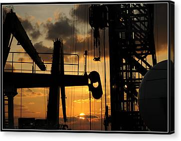 Sunset Viewed From An Oil Rig W Border Canvas Print by Bradford Martin