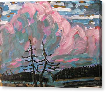 Canvas Print featuring the painting Sunset by Vikram Singh