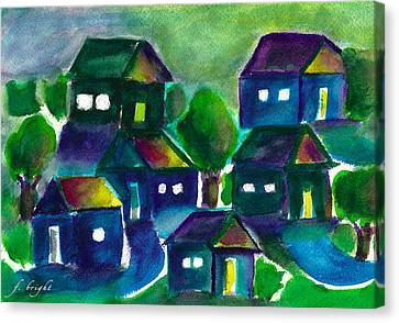 Canvas Print featuring the painting Sunset Village Watercolor by Frank Bright