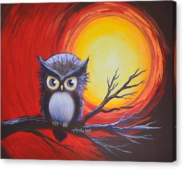 Sunset Vortex With Owl Canvas Print