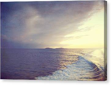 Canvas Print featuring the photograph Sunset Wake by Heather Green