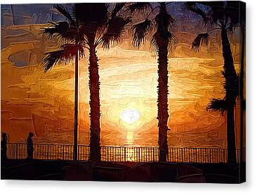 Sunset Walk Canvas Print by Kirt Tisdale