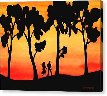 Sunset Walk Canvas Print by Sophia Schmierer