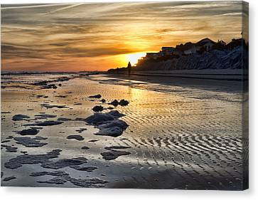 Sunset Wild Dunes Beach South Carolina Canvas Print by Evie Carrier