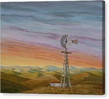 Windmill Sunset Canvas Print by J W Kelly