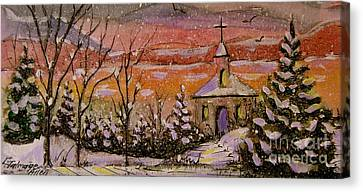 Sunset Winter Church Canvas Print by Gretchen Allen