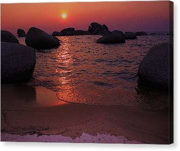 Canvas Print featuring the photograph Sunset With A Whale by Sean Sarsfield