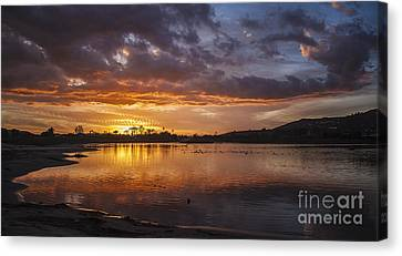 Sunset With Clouds Over Malibu Beach Lagoon Estuary Canvas Print by Jerry Cowart