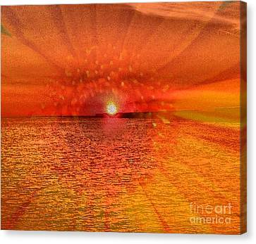 Canvas Print featuring the photograph Sunset With Flower By Saribelle Rodriguez by Saribelle Rodriguez