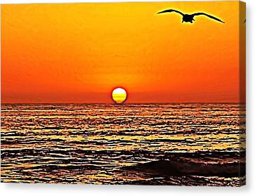 Sunset With Seagull Canvas Print by Sharon Soberon