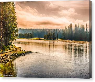 Sunset Yellowstone Canvas Print by Bob and Nadine Johnston