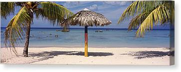 Sunshade On The Beach, La Boca, Cuba Canvas Print
