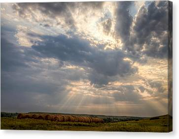 Sunshine And Hay Bales Canvas Print by Scott Bean