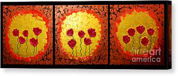 Sunshine Poppies - Abstract Oil Painting Original Metallic Gold Textured Modern Contemporary Art Canvas Print by Emma Lambert