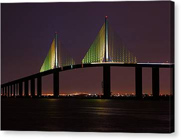 Sunshine Skyway At Dusk Canvas Print