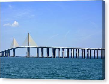 Sunshine Skyway Bridge II Tampa Bay Florida Usa Canvas Print by Sally Rockefeller