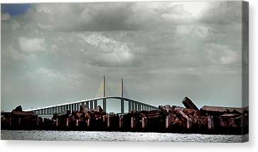 Sunshine Skyway Bridge Canvas Print by Joseph G Holland