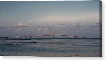 Canvas Print featuring the photograph Sunshine Skyway Bridge by Steven Sparks