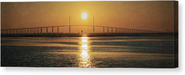 Canvas Print featuring the photograph Sunshine Skyway Bridge Sunrise by Steven Sparks