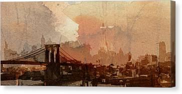 Sunsrise Over Brooklyn Bridge Canvas Print by Steve K