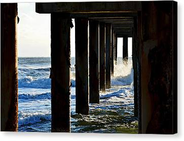 Canvas Print featuring the photograph Sunwash At St. Johns Pier by Anthony Baatz