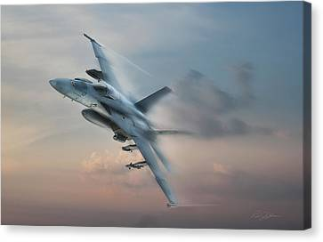 Sun Rays Canvas Print - Super Hornet by Peter Chilelli