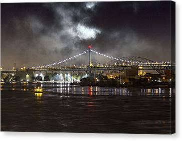 Canvas Print featuring the photograph Super Moon And Triboro Bridge by Dave Beckerman
