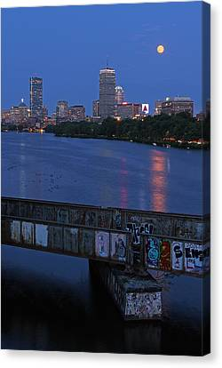 Charles River Canvas Print - Super Moon Boston by Juergen Roth