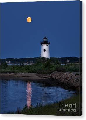 Super Moon Over Edgartown Lighthouse Canvas Print by Mark Miller
