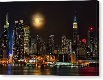 Times Square Canvas Print - Super Moon Over Nyc by Susan Candelario