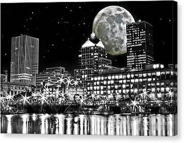 Super Moon Over Rochester Canvas Print by Richard Engelbrecht
