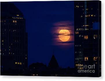 Canvas Print featuring the photograph Super Moon Rises by Mike Ste Marie