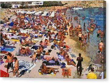 Super Paradise Beach In Mykonos Island Canvas Print by George Atsametakis