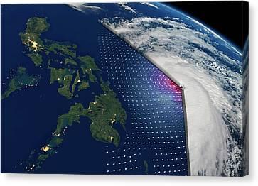 Super Typhoon Haiyan Canvas Print by Planetary Visions/nasa-jpl/noaa