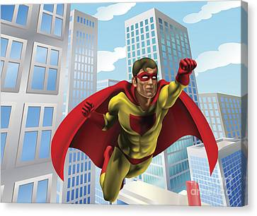 Superhero Flying Through City Canvas Print by Christos Georghiou