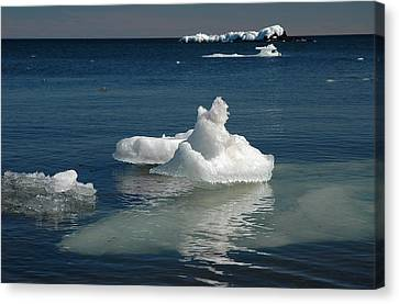 Canvas Print featuring the photograph Superior Blues And Ice by Sandra Updyke