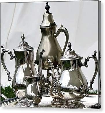 Superior Officers Silverware And Tea Service From  The Stoney Creek War Of  1812 Canvas Print by Danielle  Parent