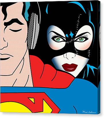 Character Canvas Print - Superman And Catwoman  by Mark Ashkenazi