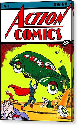 Superman Comic Book -1938 Canvas Print by Doc Braham