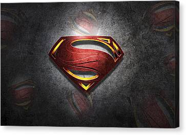 Superman Man Of Steel Digital Artwork Canvas Print by Georgeta Blanaru