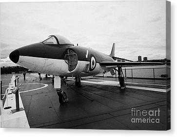 Supermarine F 1 F1 Scimitar On Display On The Flight Deck At The Intrepid Sea Air Space Museum  Canvas Print by Joe Fox