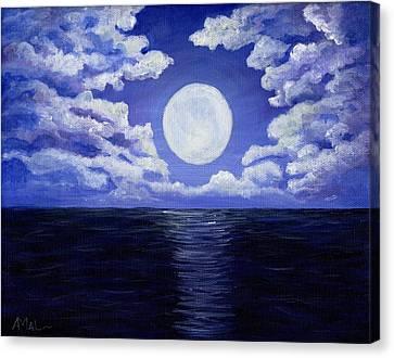 Midnight Canvas Print - Supermoon by Anastasiya Malakhova