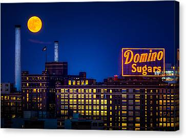 Supermoon Over Baltimore Canvas Print by Geoffrey Baker