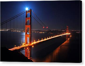 Supermoon Shining On Top Of The Golden Gate Bridge Canvas Print