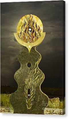 Supermoon Through The Sun Statue Canvas Print by Lynda Dawson-Youngclaus