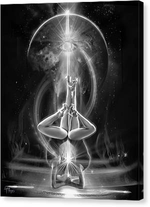 Supernova Twins With Moon Bw Canvas Print
