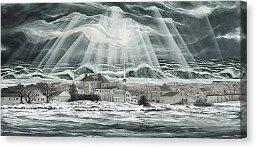 Superstorm Sandy Sea Bright Nj Canvas Print by Ronnie Jackson
